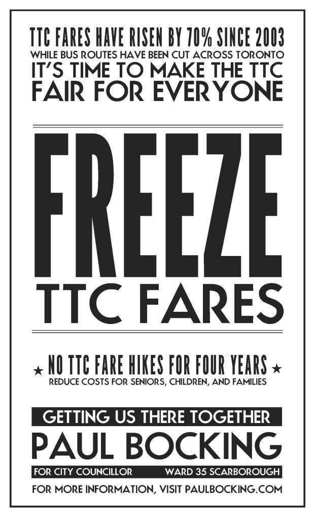 freeze ttc fares flyer