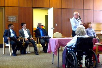Speaking to residents at the Chester Village Long-Term Care Facility about issues in the ward that impact them.